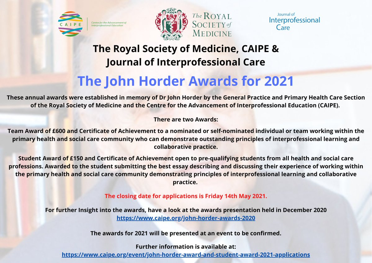 Applications for The John Horder Awards for 2021 a...