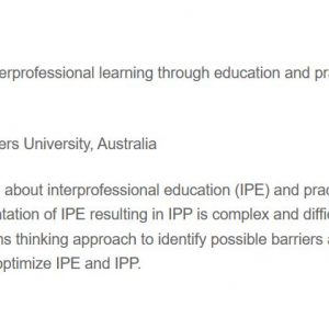 "Congress Session Preview ""Optimising interprofessi..."