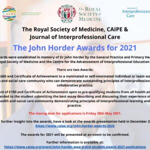 Deadline for submissions for the John Horder Award...
