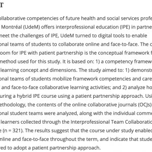 How interprofessional teams of students mobilized ...