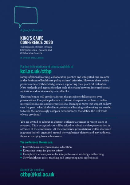 King's CAIPE Conference 2020 flyer-back