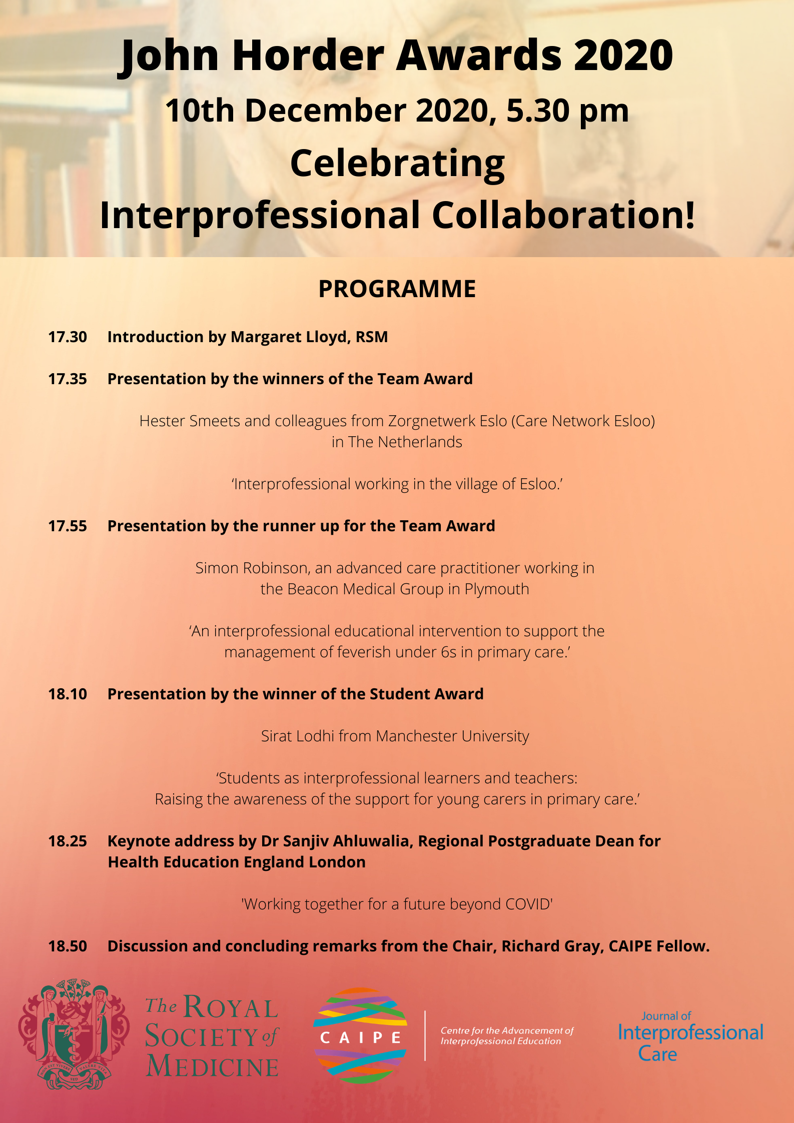 Programme John Horder Awards Presentation 2020