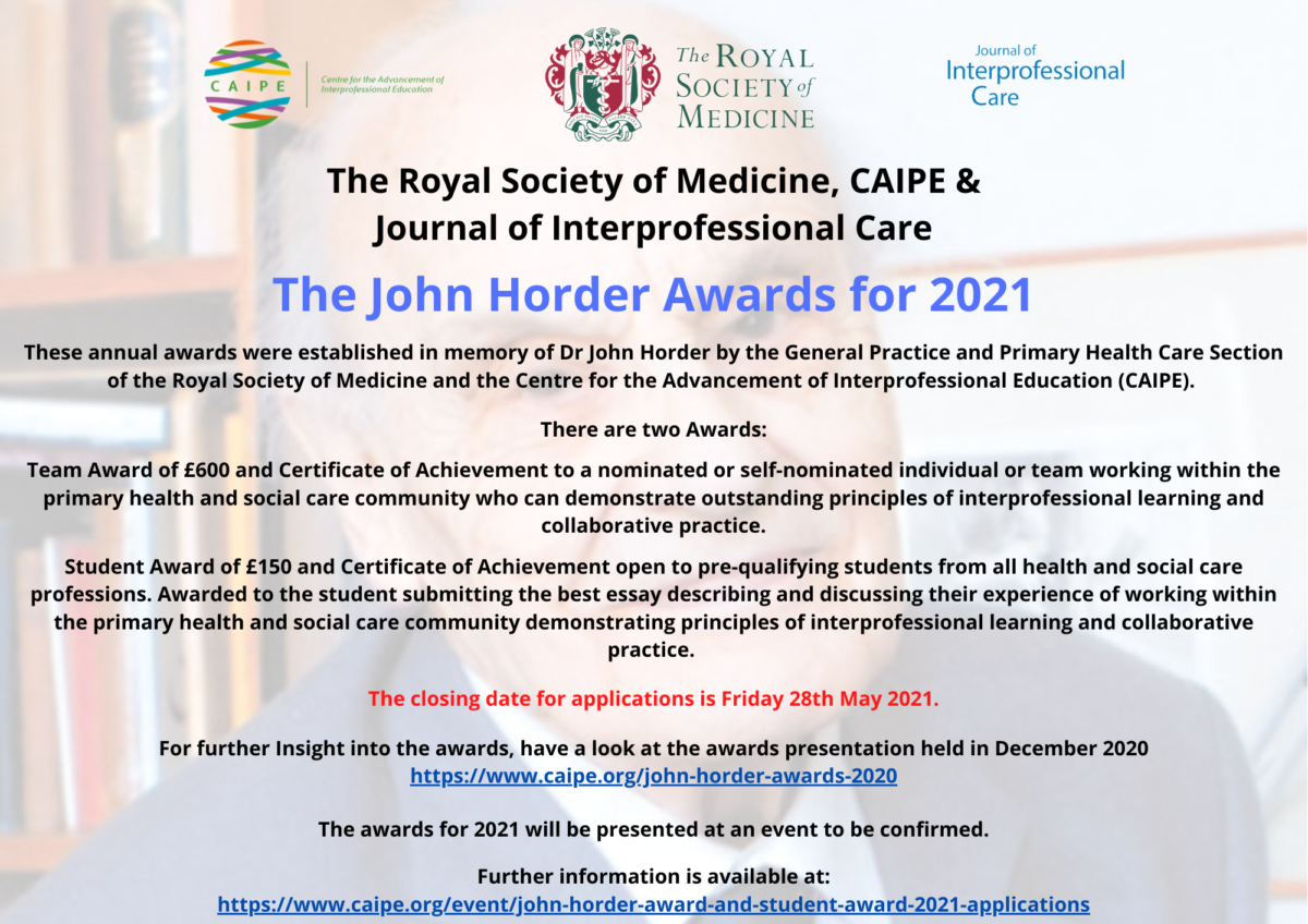 THE JOHN HORDER AWARD 2021 Flyer